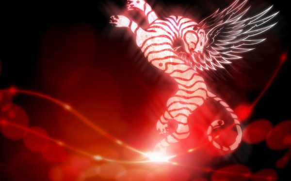 Animal Artistic Red Tiger Wings Abstract HD Wallpaper | Background Image