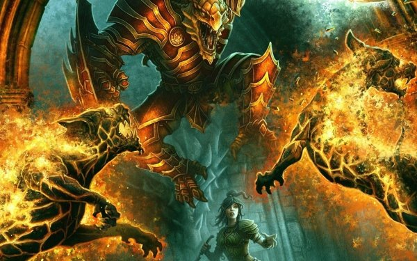 Fantasy Battle Creature Fire HD Wallpaper | Background Image