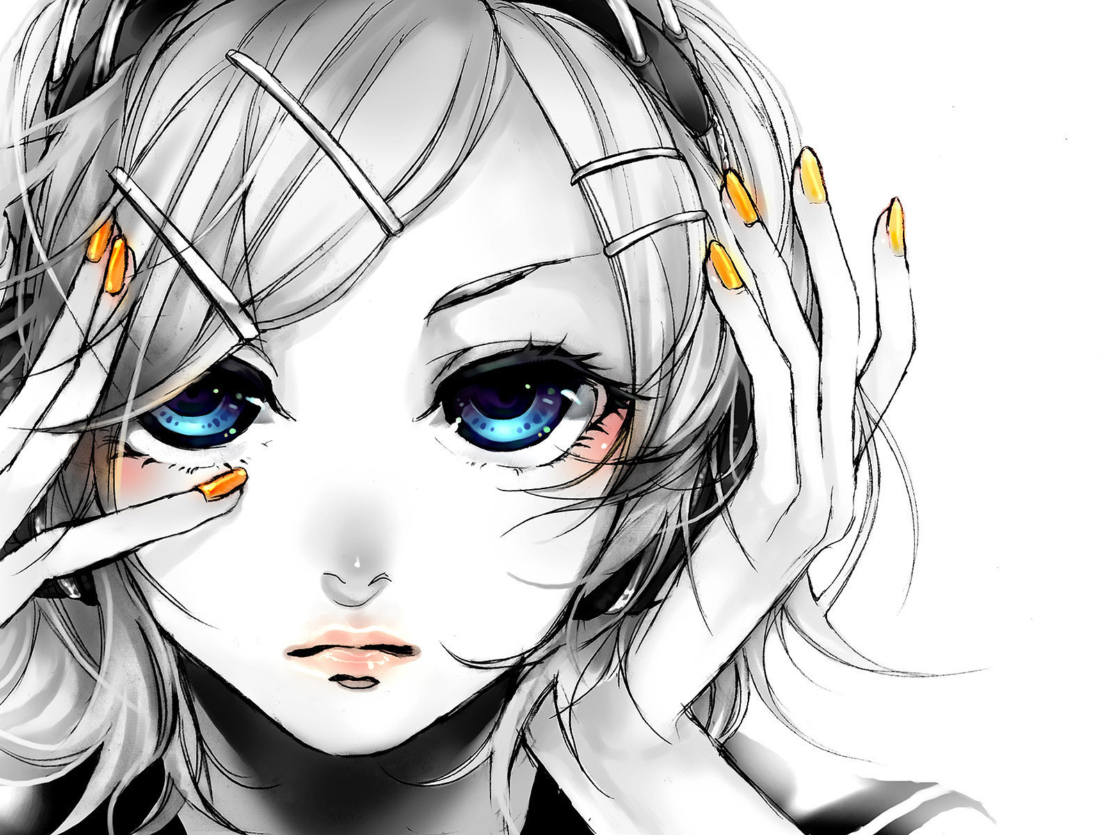 Anime - Vocaloid  - Kagamine Rin - Song Illustration - Migikata No Chou Papel de Parede