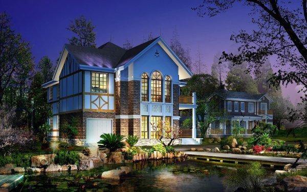 Artistic Building Buildings CGI House Pond Garden HD Wallpaper | Background Image