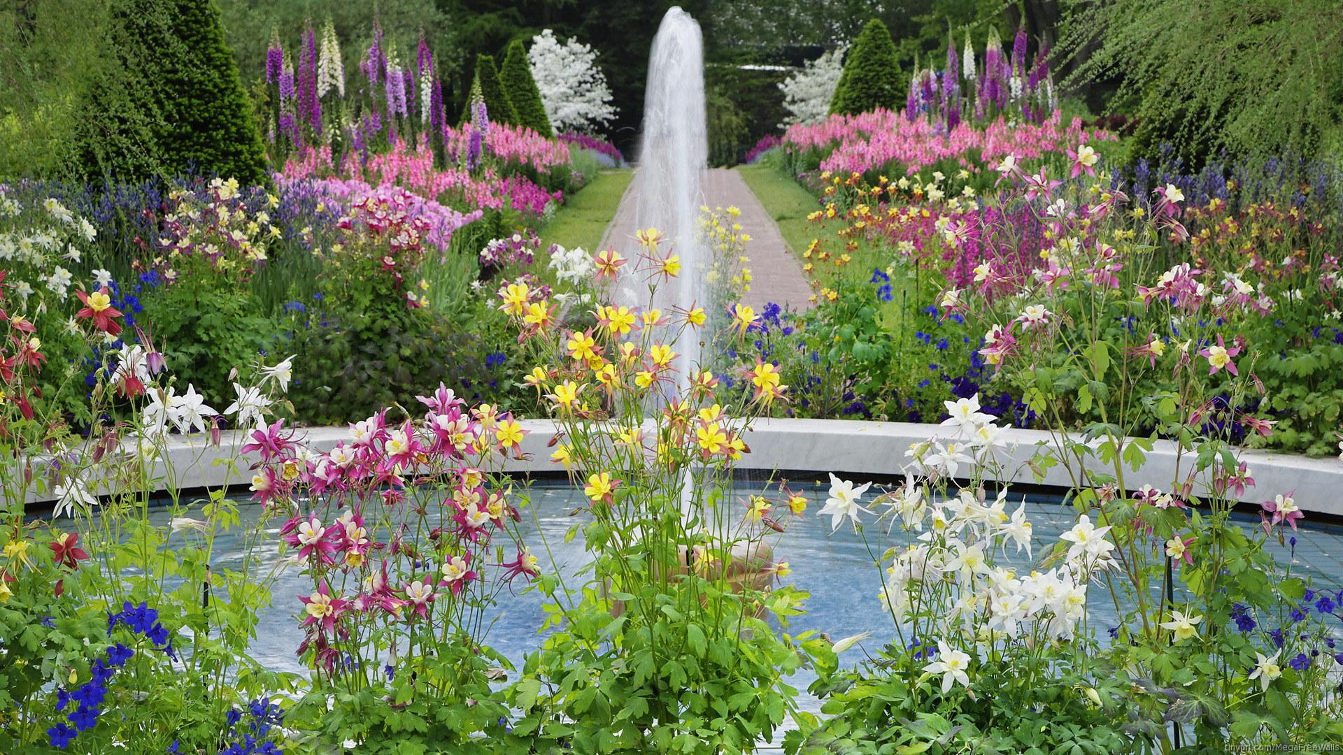 Man Made - Garden  Flower Fountain Wallpaper