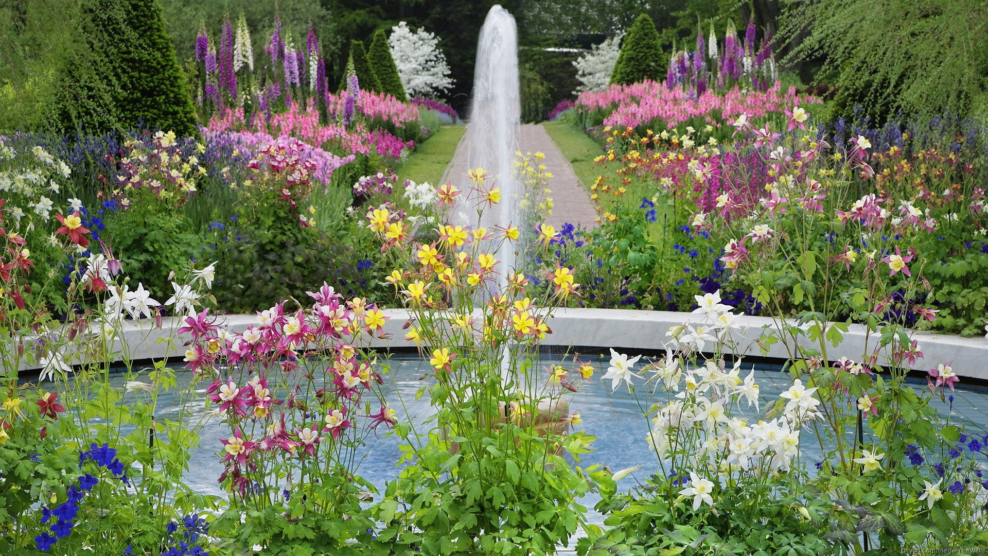 Man Made - Garden  Flower Fountain Wallpaper