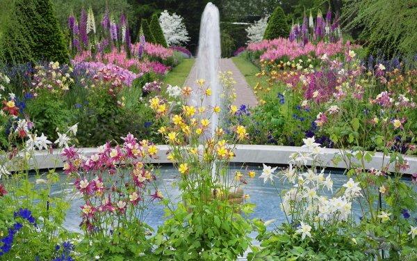 Man Made Garden Flower Fountain HD Wallpaper | Background Image