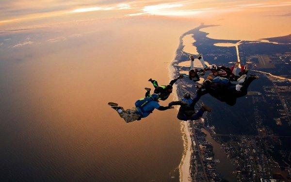 Sports Parachutisme Les gens Paysage Ville Fond d'écran HD | Image