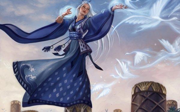 Fantaisie Sorcière Magicienne Magique Kimono Bleu Oiseau Fond d'écran HD | Image