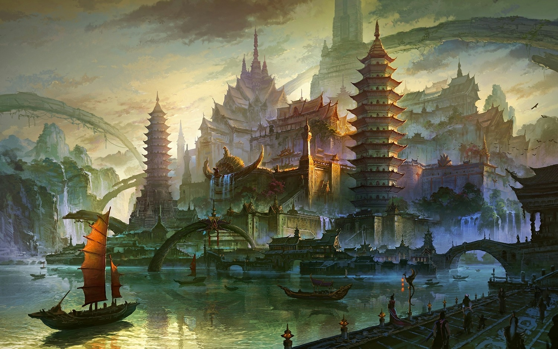 Fantasy - Oriental  Asia Sea River City Ship Boat Bridge Building Mountain Rock Waterfall Dock Pier Harbor Tower Asian Art Wallpaper