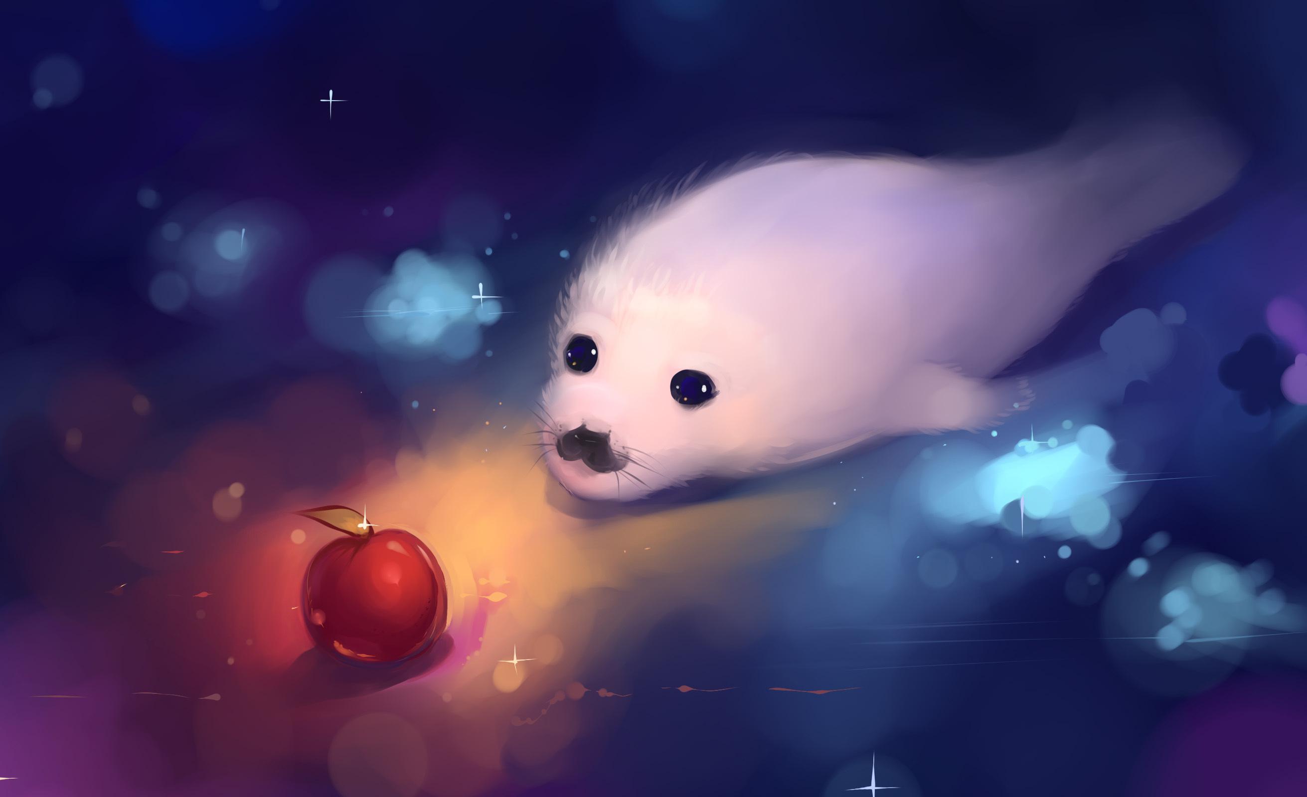 animal artistic cute seal puppy apple wallpaper