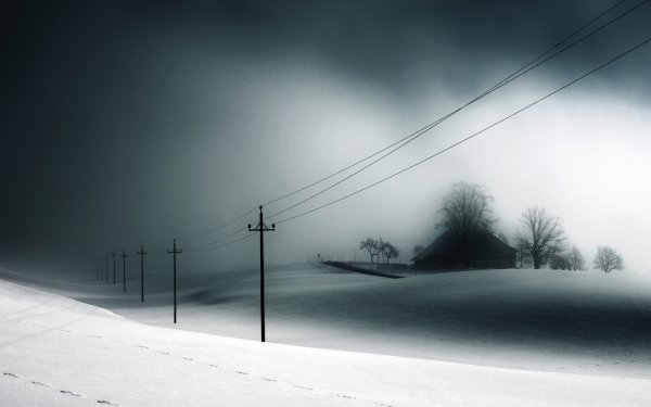Photography Manipulation Winter Snow House Power Line HD Wallpaper | Background Image