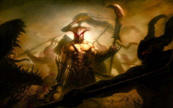 Fantasy Battle Warrior Weapon Battlefield Monster Creature Dark HD Wallpaper | Background Image