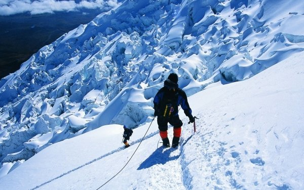 Sports Mountaineering Climbing People Danger Winter Snow Mountain Scenic Adventure HD Wallpaper | Background Image