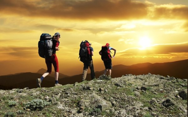 Sports Hiking Sunset Mountain Landscape People Cloud Sky HD Wallpaper   Background Image