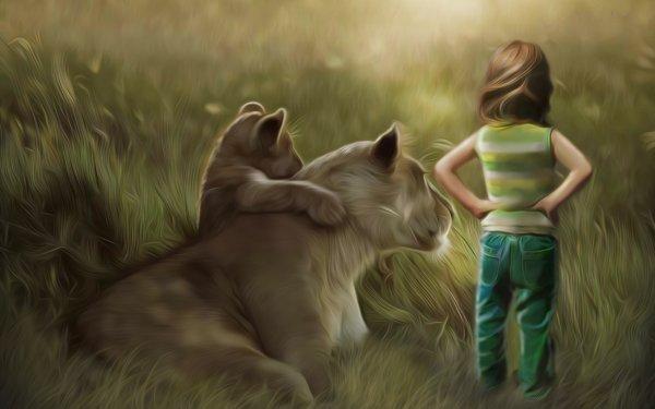Fantaisie Lion Animaux Fantastique Enfant Animaux Fond d'écran HD | Arrière-Plan