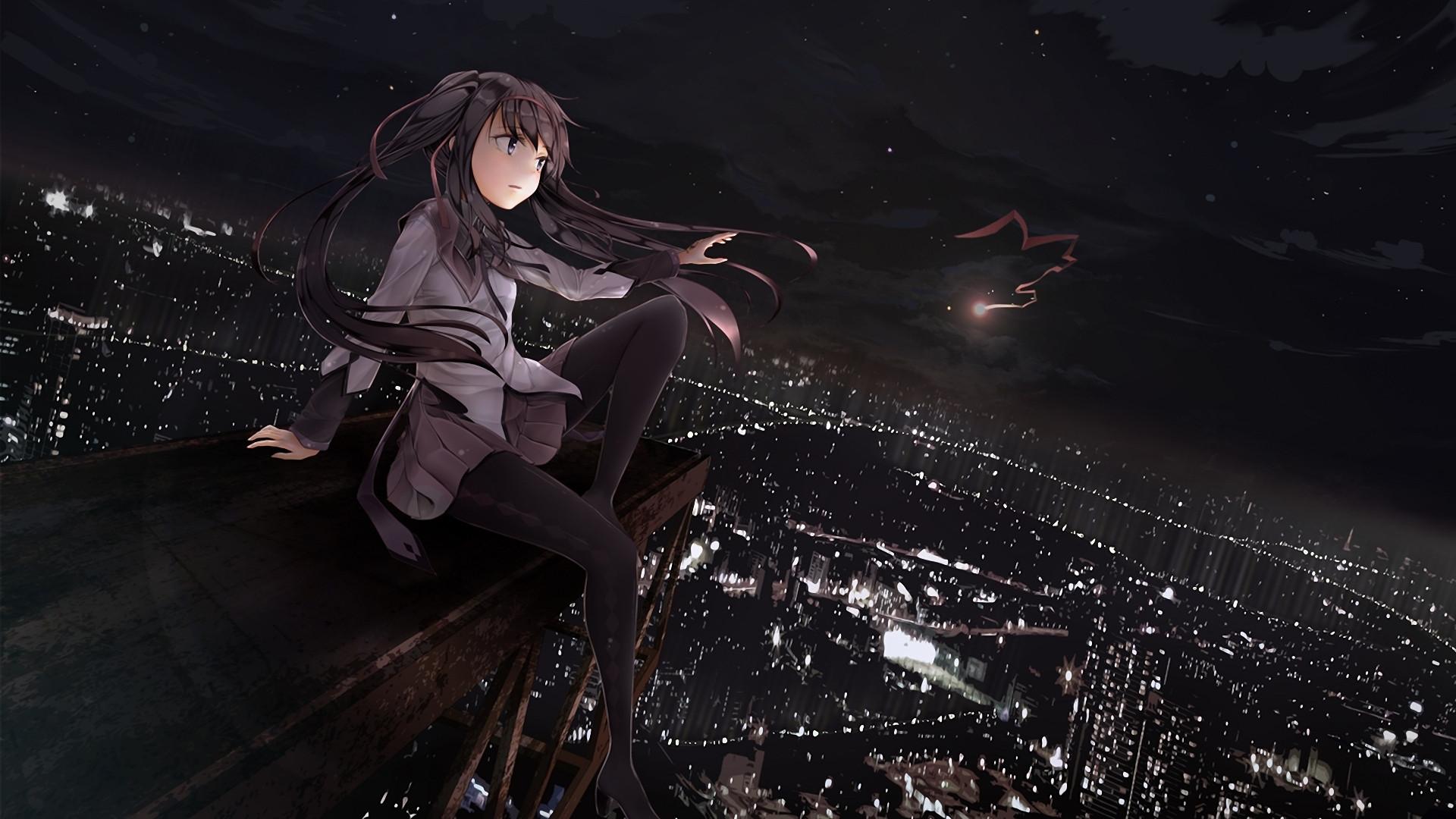 Puella magi madoka magica full hd wallpaper and background - Anime wallpaper black background ...