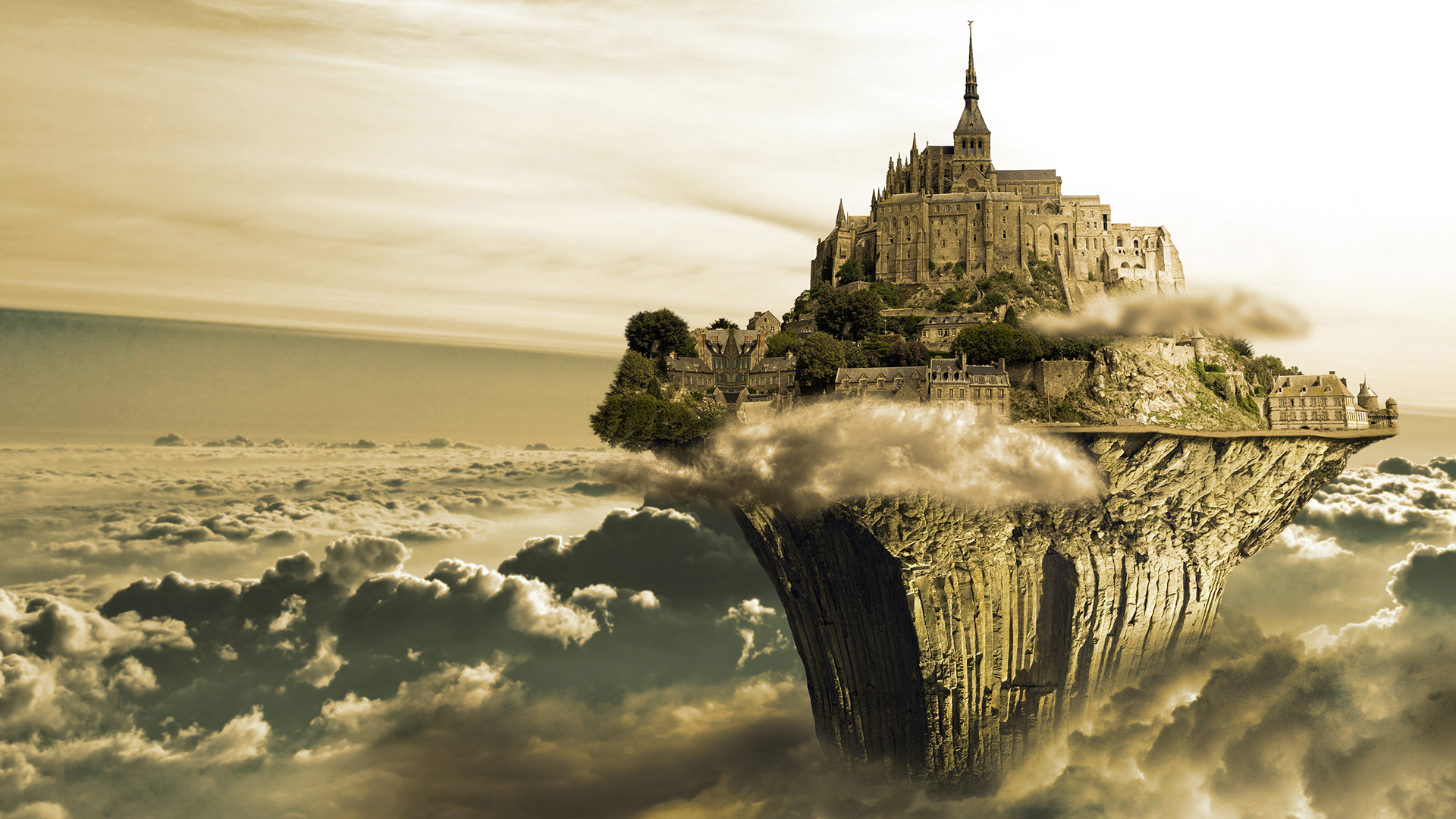 Fantasy - Castle  CGI Digital Art Island Surreal Cloud Sky Manipulation Fantasy Wallpaper
