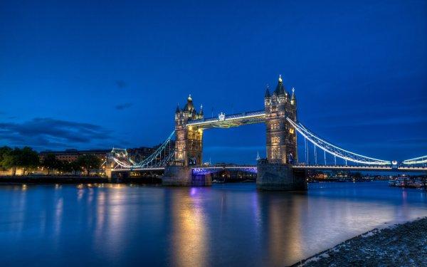 Man Made Tower Bridge Bridges Reflection Night Light London HD Wallpaper | Background Image