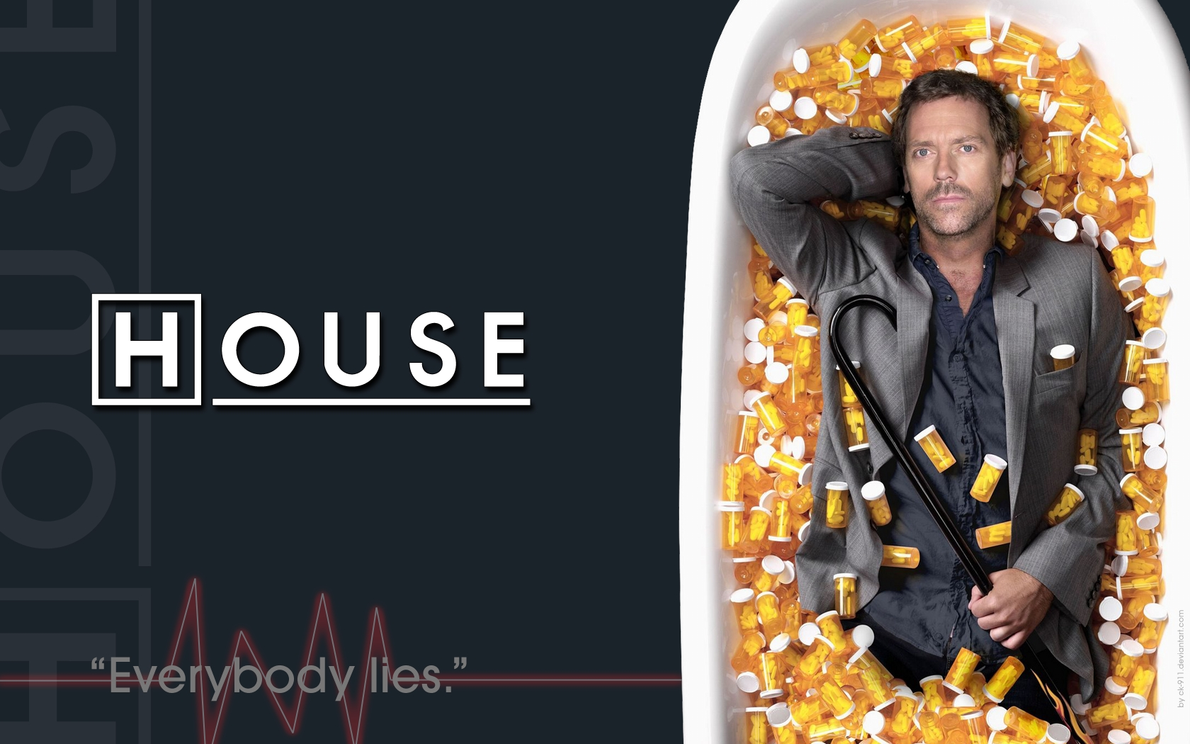 Televisieprogramma - House  - Sons Of Anarchy - Hugh Laurie - Dr. Gregory House Achtergrond