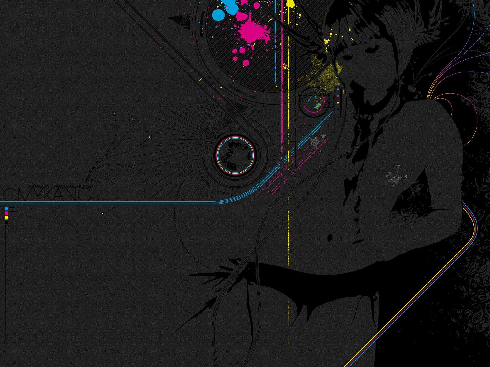 Artistic - Vector  Colors Stars Lines Black Grey Wallpaper