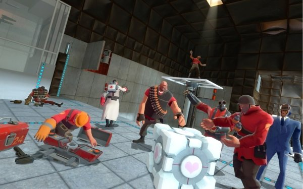 Video Game Crossover Team Fortress Portal Companion Cube HD Wallpaper | Background Image