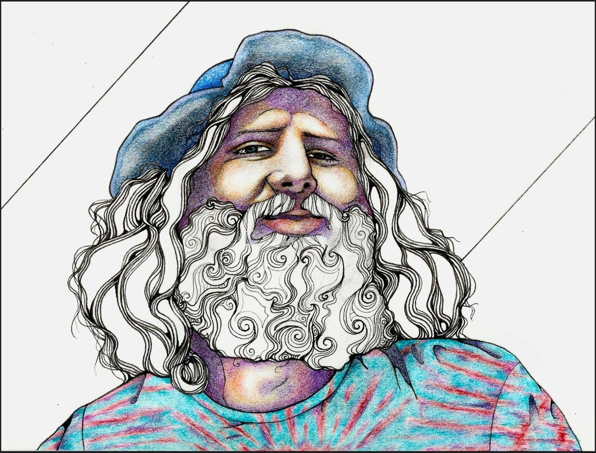 Artistisk - Målningar  Artistisk Man Hat Beard Bakgrund