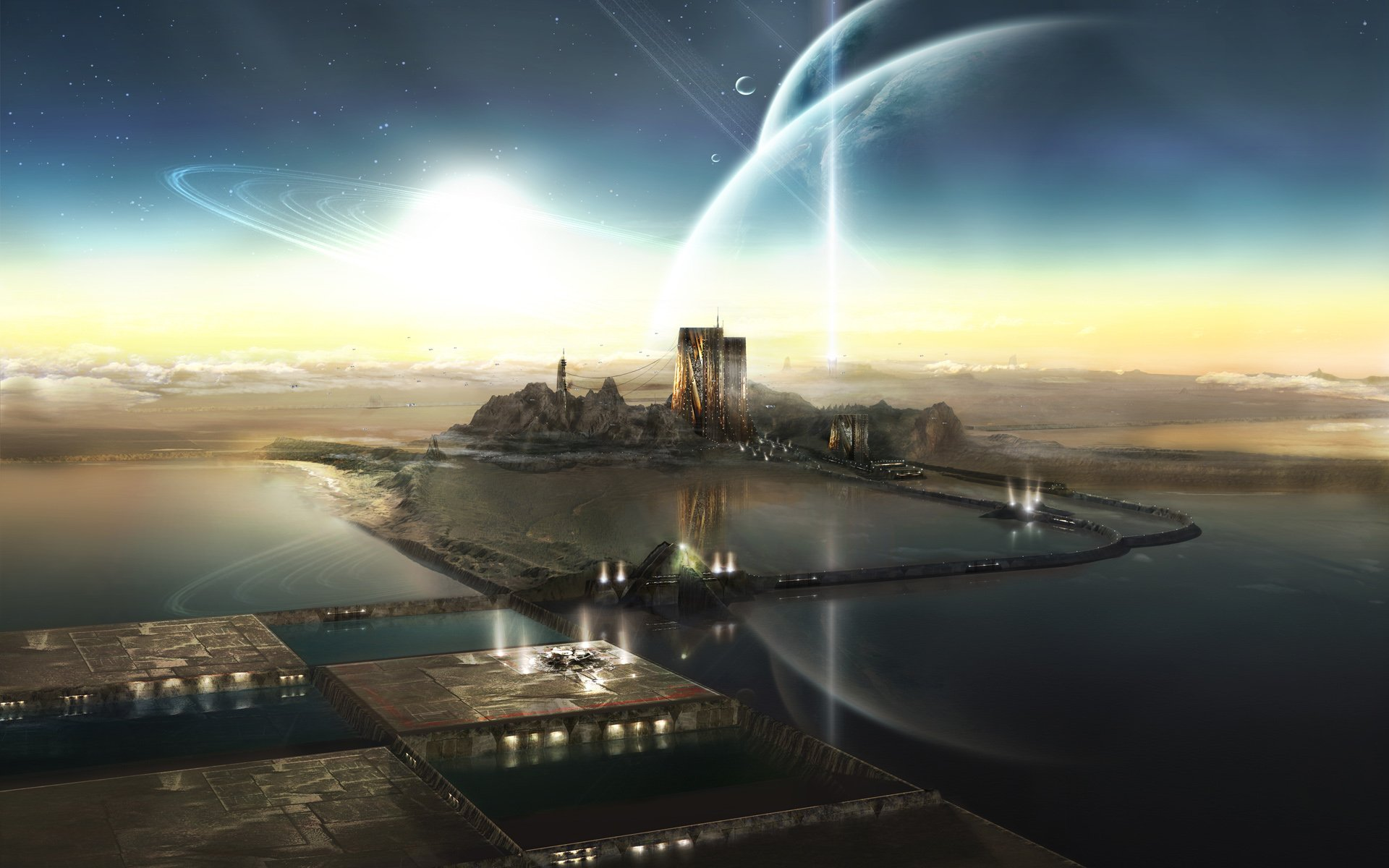 Science-Fiction - Großstadt  Science-Fiction Landschaft Wasser Mond Planet Wallpaper