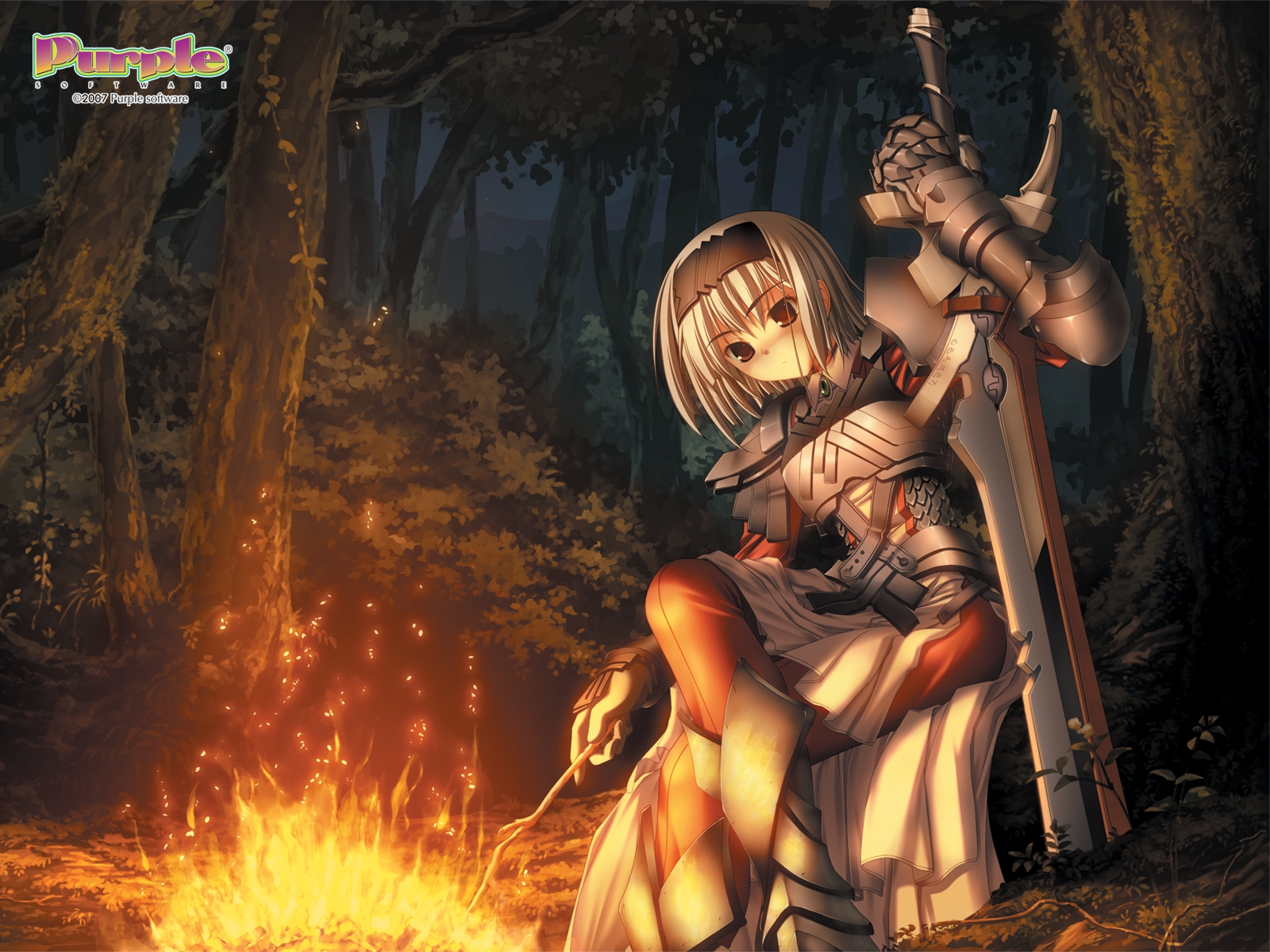 Anime - Unknown  Armor Sword Campfire Night Forest Anime Wallpaper
