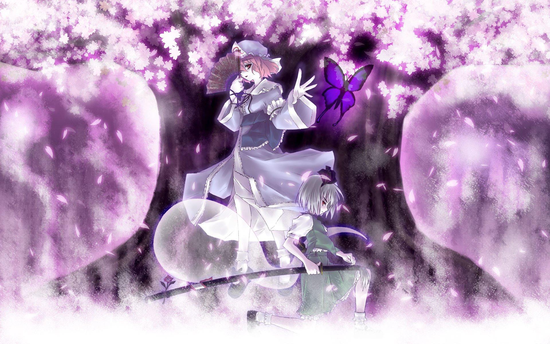 Anime - Touhou  Purple Girl Butterfly Yuyuko Saigyouji Youmu Konpaku Wallpaper