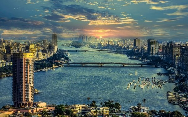 Man Made Cairo Egypt Nile Sunset HD Wallpaper | Background Image