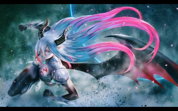 Anime Rage of Bahamut: Genesis Long Hair Wings Horns Shingeki no Bahamut HD Wallpaper | Background Image