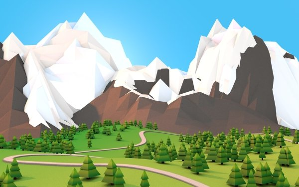 Artistic Mountain 3D Low Poly HD Wallpaper | Background Image
