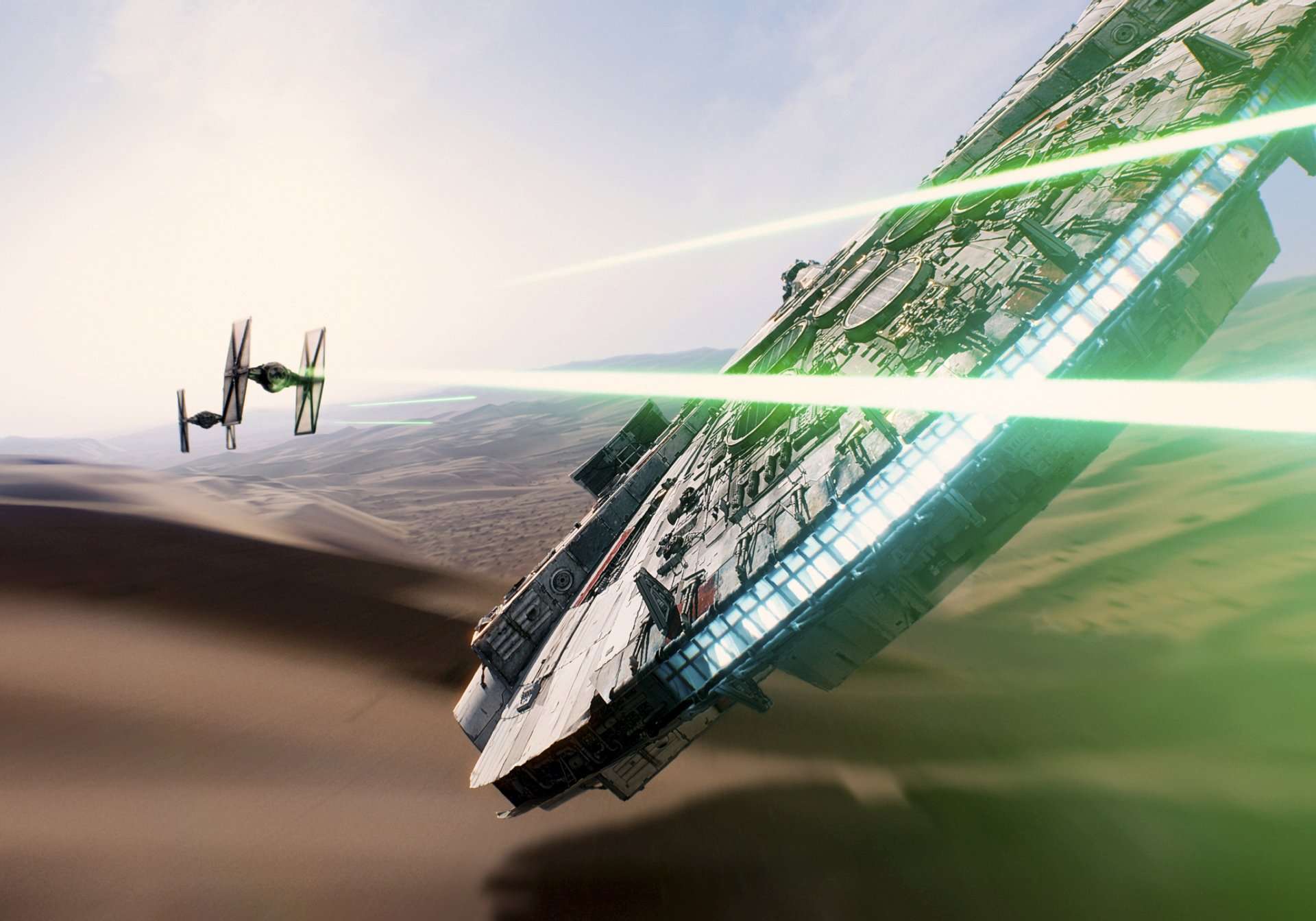 Movie - Star Wars Episode VII: The Force Awakens  Millennium Falcon TIE Fighter Star Wars Wallpaper
