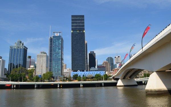 Man Made Brisbane Cities Australia Bridge Building River City Skyscraper Victoria Bridge State Law Building HD Wallpaper | Background Image