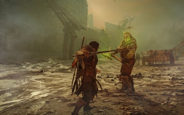 Video Game Middle-earth: Shadow of Mordor Orc Talion Duel Fight HD Wallpaper | Background Image