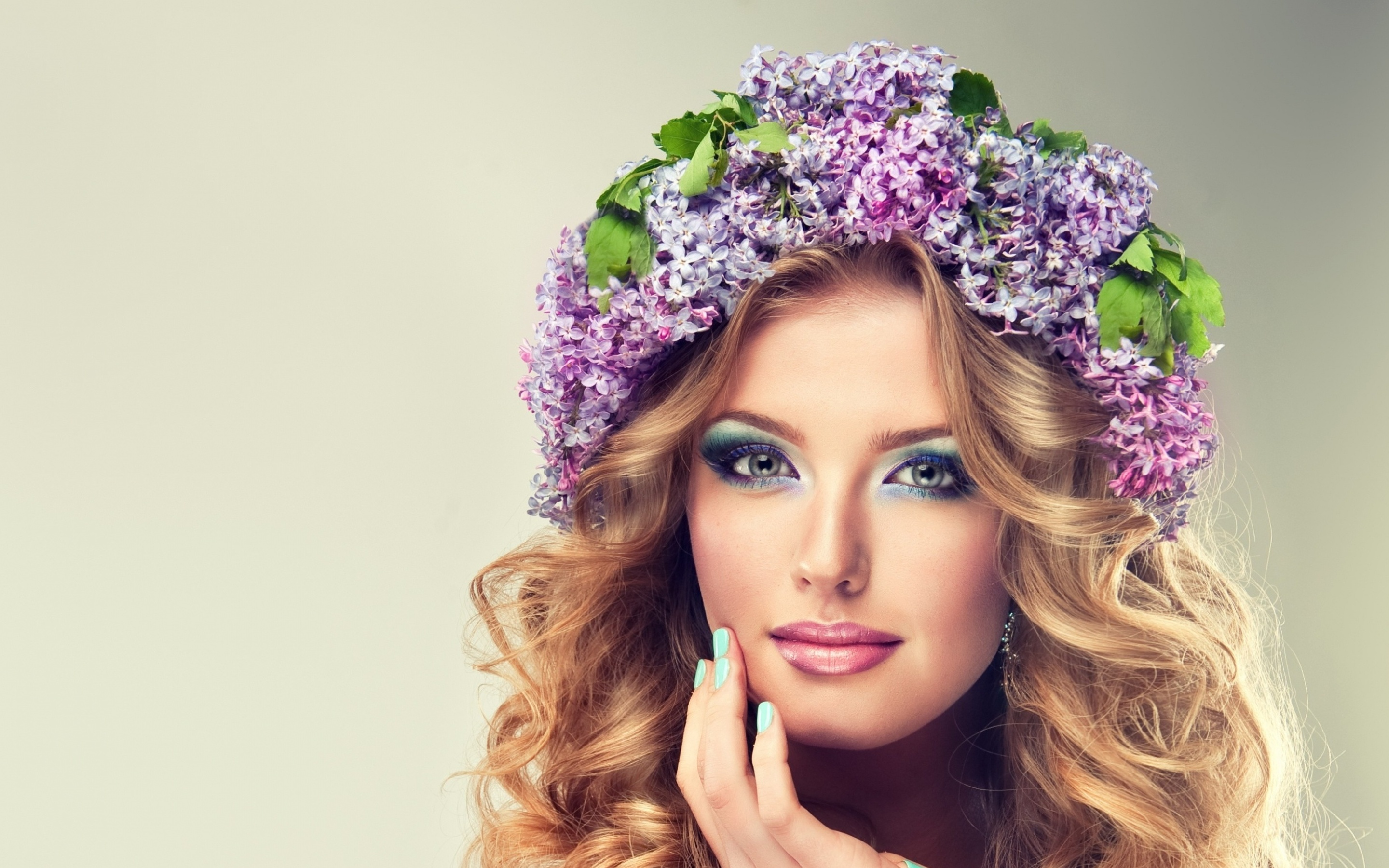 Beautiful Model Of Flowers Lilac With Curly Long Hair