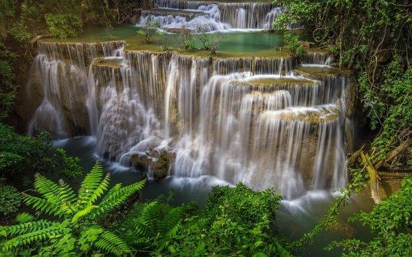 Earth Huai Mae Kamin Waterfall Waterfalls Waterfall Thailand Erawan Waterfall Erawan National Park HD Wallpaper | Background Image