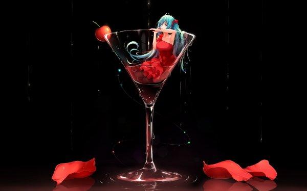 Anime Vocaloid Blue Hair Blue Eyes Long Hair Dress Cherry Hatsune Miku Glass HD Wallpaper | Background Image