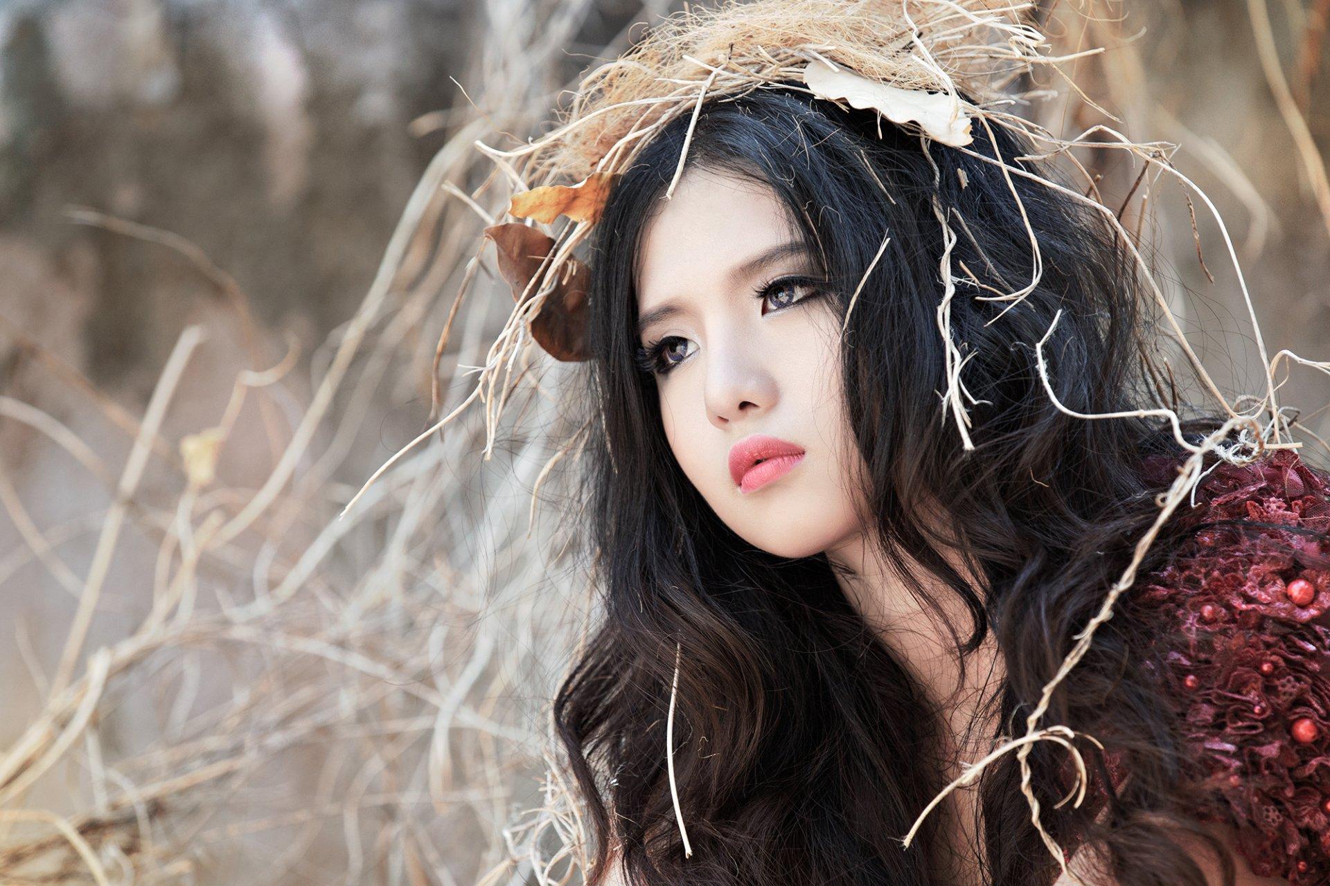 Women - Mitu kat  Girl Model Face Vietnamese Asian Wallpaper