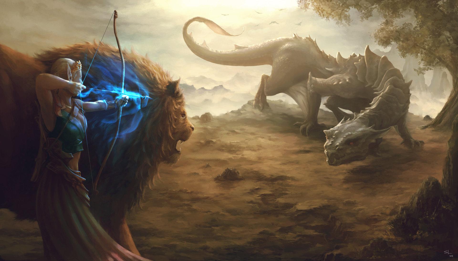 Fantasy - Elf  Lion Archer Wallpaper