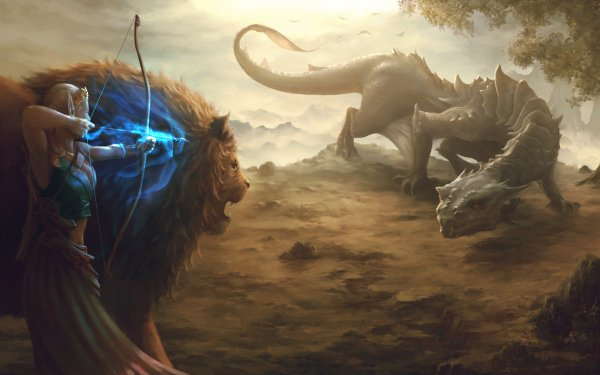 Fantasy Elf Archer Lion HD Wallpaper | Background Image