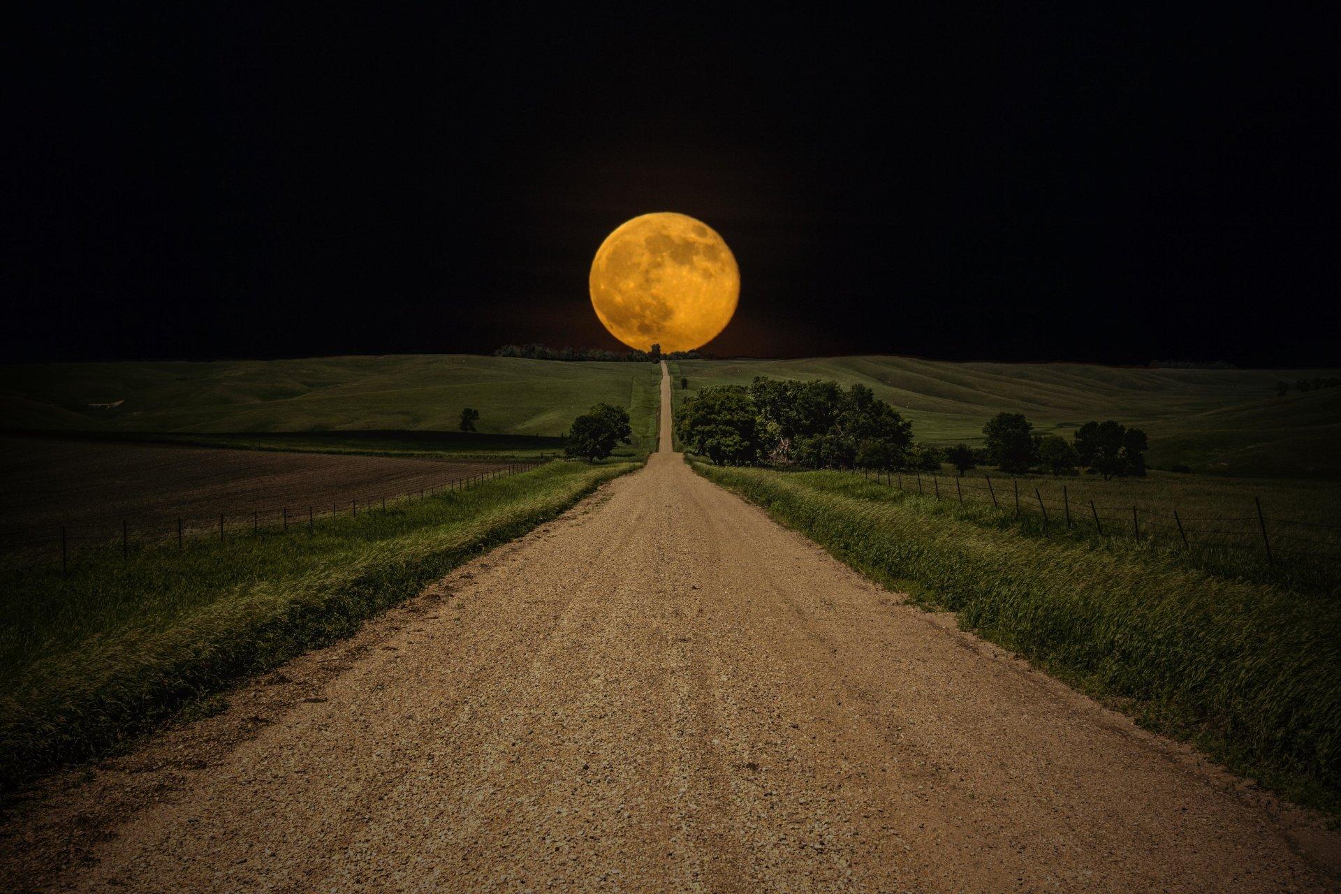 Earth - Moon  Landscape Night Field Scenic Wallpaper