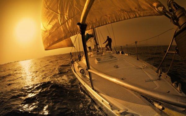 Vehicles Sailboat Sailing Yacht Sea Ocean Sunset HD Wallpaper | Background Image