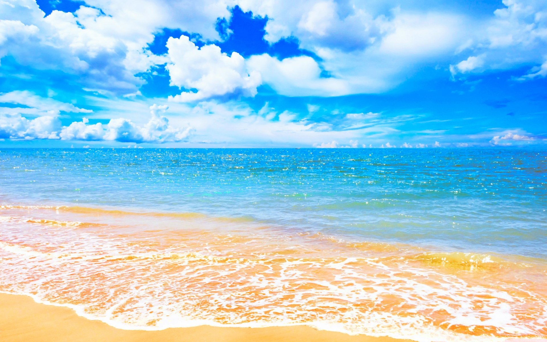 Earth - Beach  Horizon Sky Wave Blue Sea Turquoise Cloud Summer Sunny Nature Wallpaper