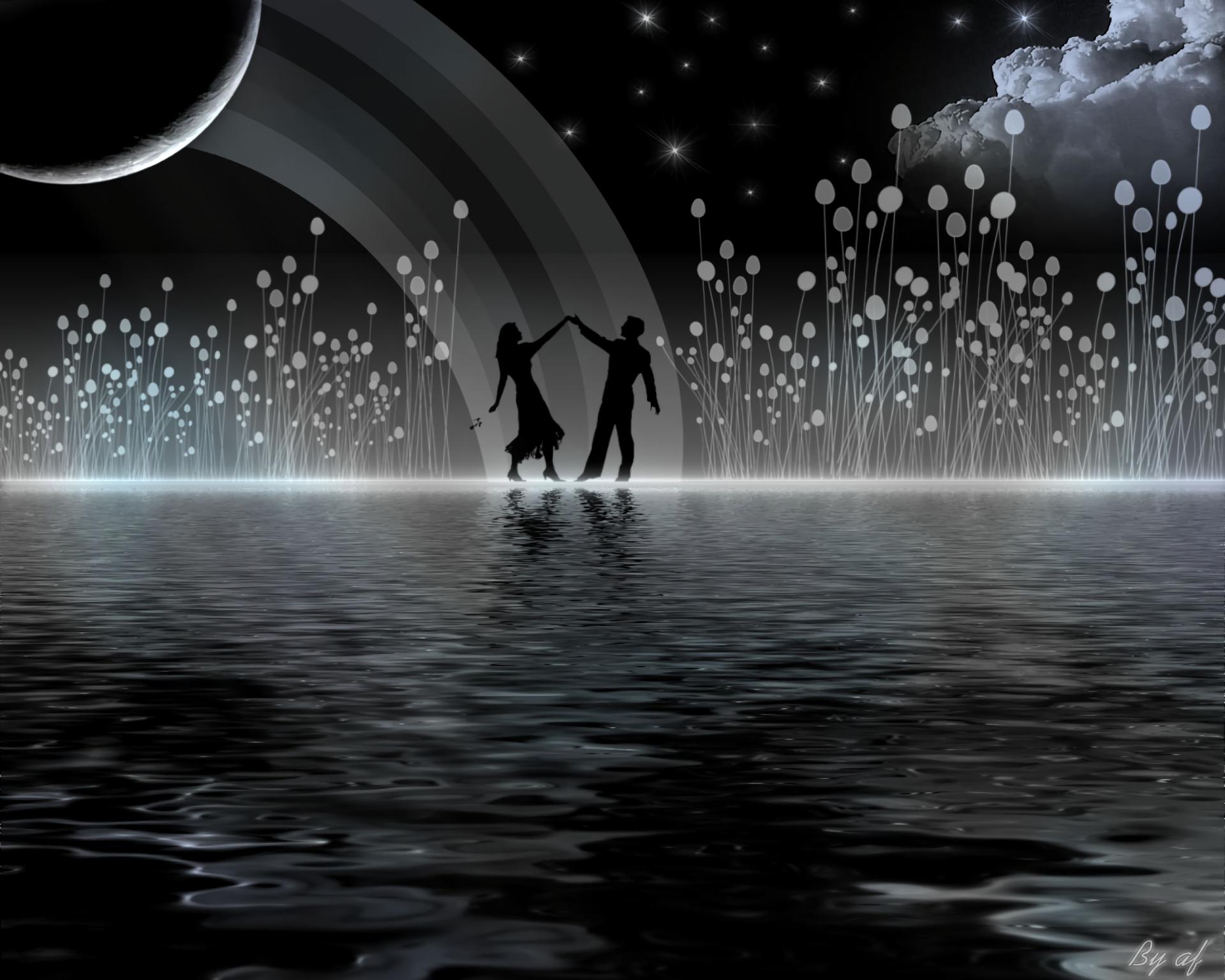 Художественные - Любовь  Художественные Man Woman Dancing Облака Луна Ночь Обои