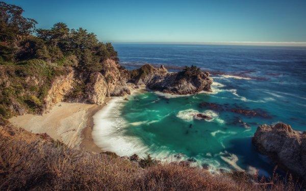 Earth Big Sur Seashore McWay Falls California Sea Waterfall HD Wallpaper   Background Image