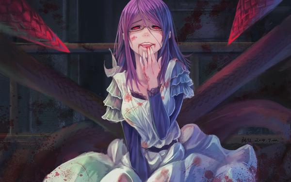 Anime Tokyo Ghoul Rize Kamishiro Dress White Dress Blood Kagune Smile Glasses Red Eyes HD Wallpaper | Background Image