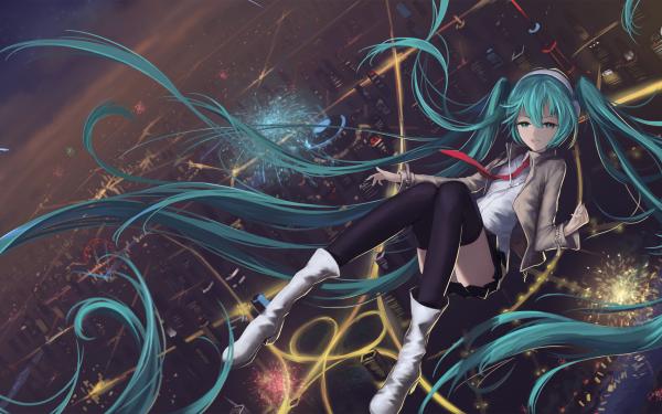 Anime Vocaloid Hatsune Miku City Fireworks Long Hair Green Hair Green Eyes HD Wallpaper   Background Image