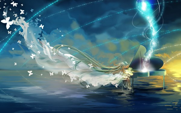 Anime Vocaloid Hatsune Miku Fantasy Piano Butterfly HD Wallpaper | Background Image