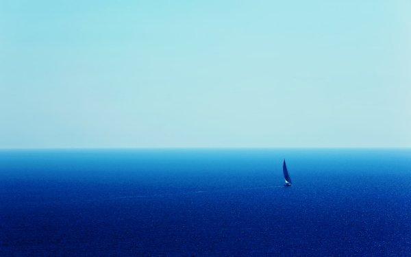 Earth Ocean Sea Sailing Boat Blue Landscape Nature HD Wallpaper | Background Image
