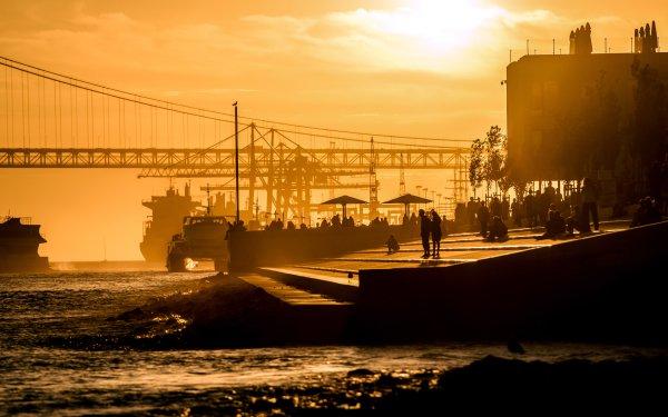 Man Made 25 de Abril Bridge Bridges Almada Portugal Bridge Sunset Sunlight Ship Tagus river HD Wallpaper   Background Image