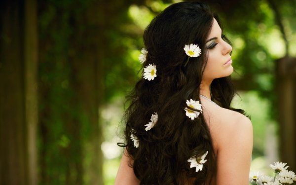 Women Hair Woman Brunette Flower Rear HD Wallpaper | Background Image