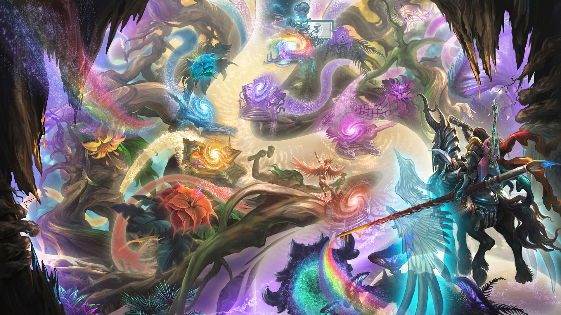 Fantasy - Artistic  Tree Rainbow Magic Knight Galaxy Flower Dreamworld Wallpaper